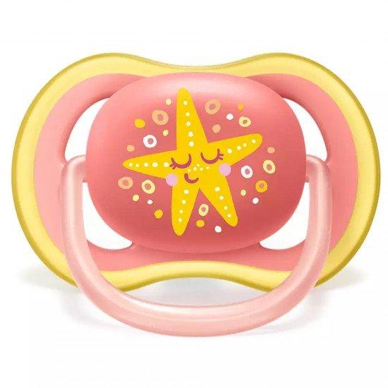 Philips AVENT Ортодонтични залъгалки Ultra Air + стерилизаторна кутия (6-18м), КИТ/МОРСКА ЗВЕЗДА, 2 бр./оп.