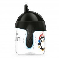 Philips AVENT Неразливаща се чаша с твърд накрайник 260 мл, 12м+, Пингвин, черна