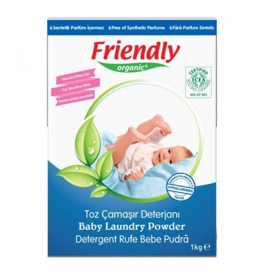 FRIENDLY ORGANIC Органичен прах за пране за бебешки дрехи, 1кг