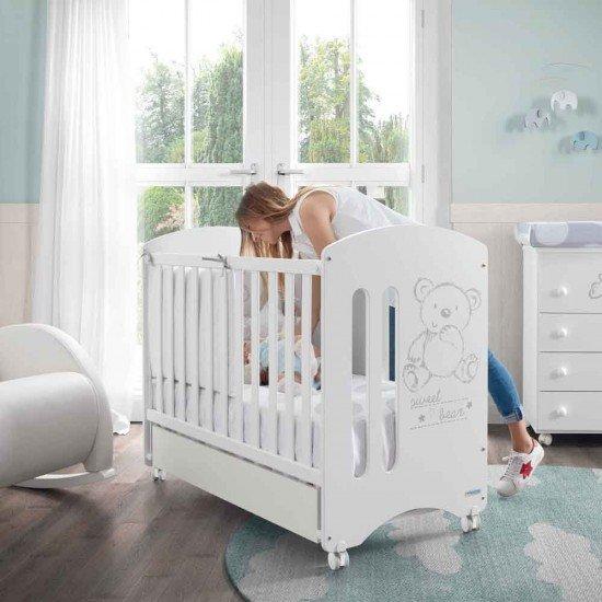 MICUNA Комплект Детско легло Sweet Bear + Скрин с четири чекмеджета, вана и повивалник + Чекмедже за легло