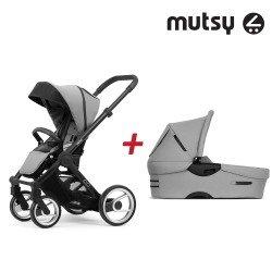 Пакет Шаси Mutsy Evo Bold Black + Кош за новородено и Седалка и сенник Mutsy Evo Bold Pebble Grey