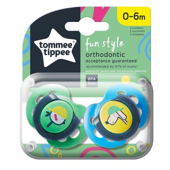 Tommee Tippee Ортодонтични залъгалки FUN STYLE, 0-6м, 2 бр./оп., Куче/Пиле