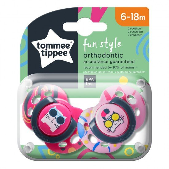 Tommee Tippee Ортодонтични залъгалки FUN STYLE, 6-18м, 2 бр./оп., Котки