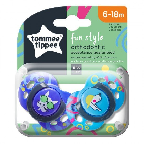 Tommee Tippee Ортодонтични залъгалки FUN STYLE, 6-18м, 2 бр./оп., Кучета