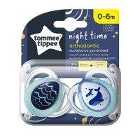 Tommee Tippee Ортодонтични залъгалки NIGHT TIME 0-6м, 2 бр./оп., Китове