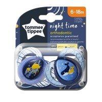Tommee Tippee Ортодонтични залъгалки NightTime 6-18m, 2 бр./оп., Китове