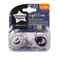 Tommee Tippee Ортодонтични залъгалки NightTime 6-18m, 2 бр./оп., Морски кончета