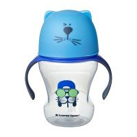 Tommee Tippee Преходна чаша с мек силиконов накрайник и дръжки, 230мл, 6м+, Синя