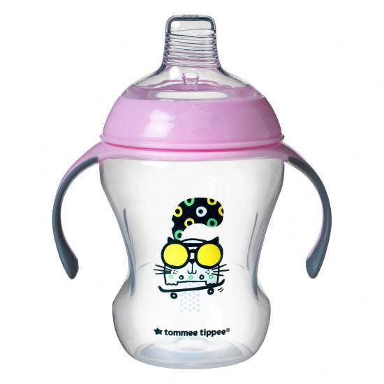 Tommee Tippee Преходна чаша с мек силиконов накрайник и дръжки, 230 мл, 6м+, Розова