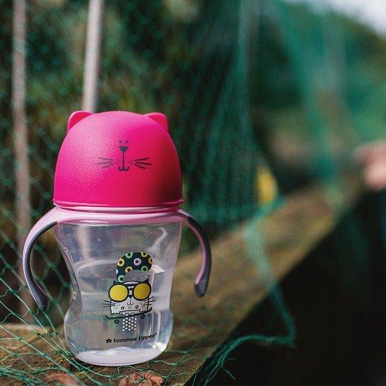 Tommee Tippee Преходна чаша с мек силиконов накрайник и дръжки, 230мл, 6м+, Розова
