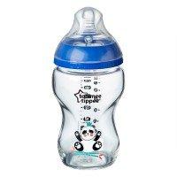 Tommee Tippee Стъклено шише за хранене EASI-VENT 0м+, 250 мл, синьо
