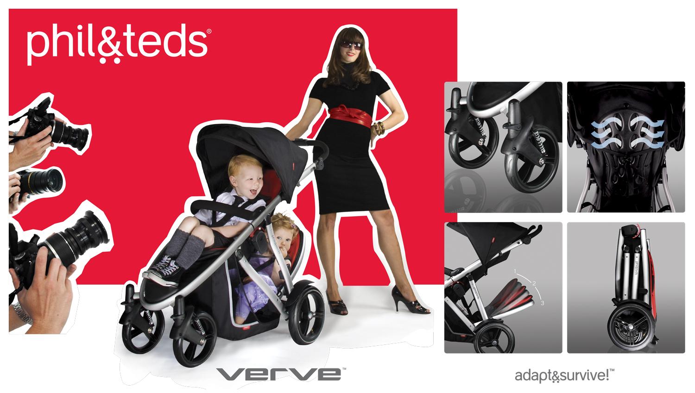 phil&teds verve с елегантен, лек и компактен дизайн, с многопозиционна седалка и маневреност за лесно управление с една ръка, независимо дали возите едно или две деца