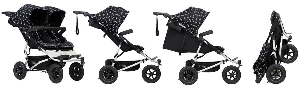 Mountain Buggy Duet V3 Най-компактната двуместна бебешка количка, същата ширина като единична