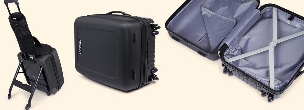 Mountain Buggy Bagrider като куфар за ръчен багаж с вместимост 35L, с едно отделение с цип и второ с вътрешни колани за пристягане на багажа
