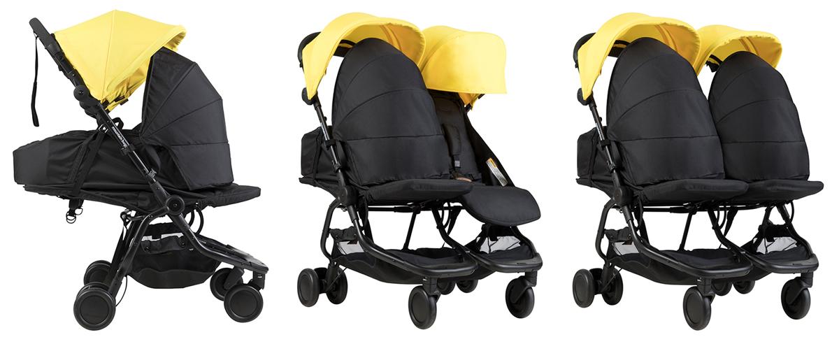 Детска количка Mountain Buggy Nano DUO за близнаци и породени деца варианти на употреба с Кош за новородено Mountain Buggy Cocoon