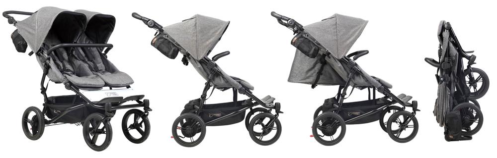 Градска количка от висок клас за близнаци Mountain Buggy Duet V3 Luxury със седалки, които се повдигат независимо една от друга