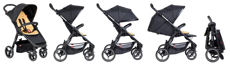 Phil&Teds Smart V3.6 е най-удобната компактна количка, с иновативно и интуитивно сгъване с крак, която стои самостоятелно и удобно, с регулируема на височина дръжка и удобна ръчна спирачка