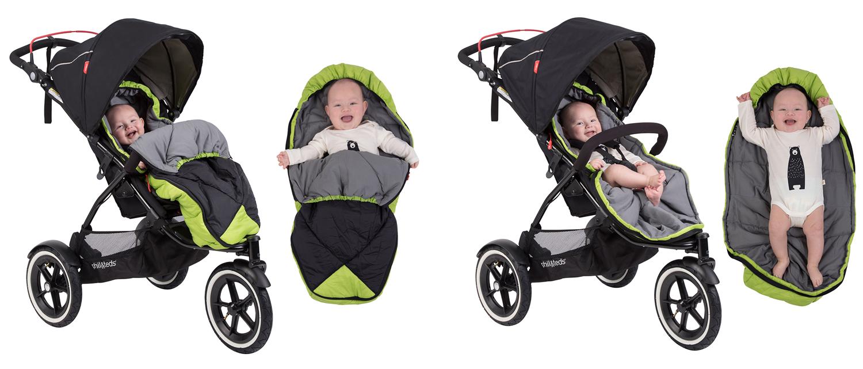 Спалният чувал Phil & Teds Snuggle & Snooze осигурява на бебето комфорт и топлина по време на разходка с детската количка