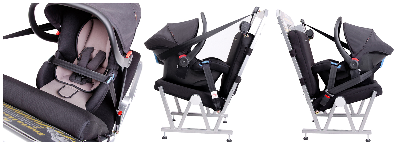 столче за кола монтирано само с помощта на предпазния колан на автомобила