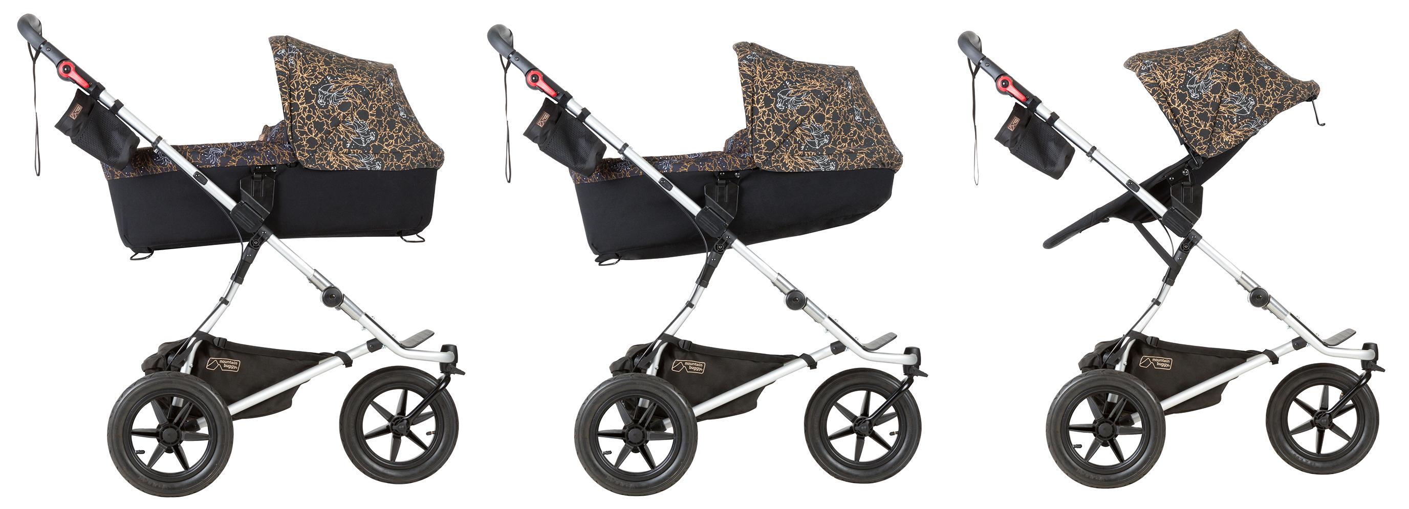 Mountain Buggy Кош за новородено PLUS за количка Urban Jungle или Swift предлага иновативно решение за родителите и дълготрайна употреба от раждането на детето до 3 годишна възраст